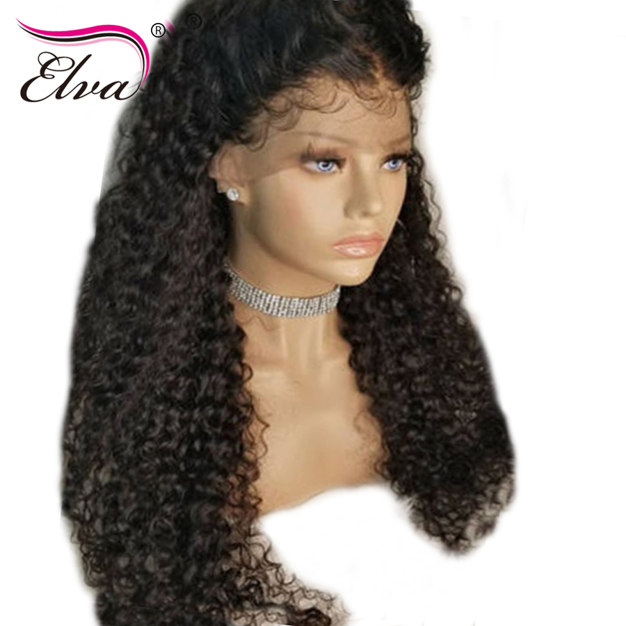 Elva Hair Curly Full Lace Human Hair Wigs Brazilian Remy Hair Full Lace Wigs Pre Plucked With Baby Hair Bleached Knots 8-26