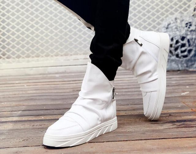 e45ab37786 US $43.99 |Hot Sale Latest Ver Men Shoes Leather High Top Shoe Fashion Man  Hip hop Shoes Male Flat Schuh Casual Shoes free shipping hjn228-in Men's ...