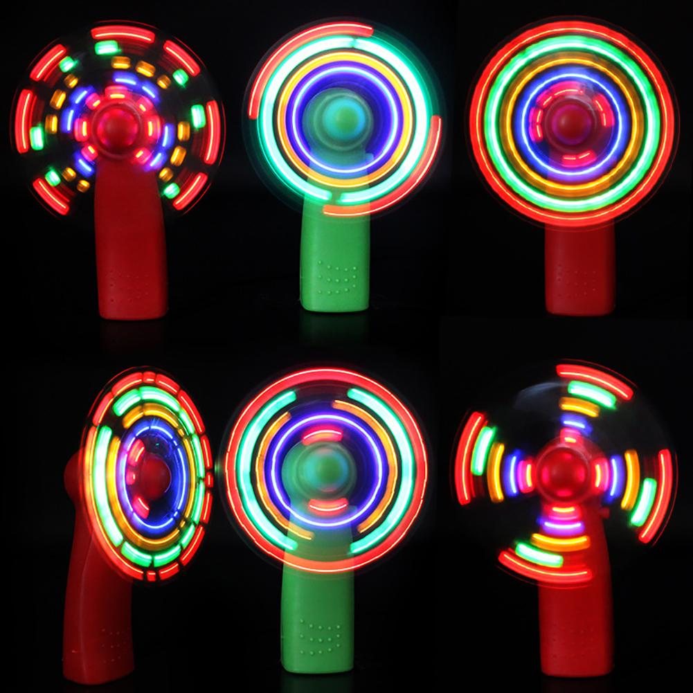 Mini Fan Luminous Toy Colorful Lights Practical Handheld Electric Cooling Fan 4 Color Changing LED Light Concert Props Toys