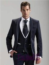 New Design One Button Navy Blue Groom Tuxedos Groomsmen Men's Wedding Prom Suits Bridegroom (Jacket+Pants+Vest+Tie) K:890