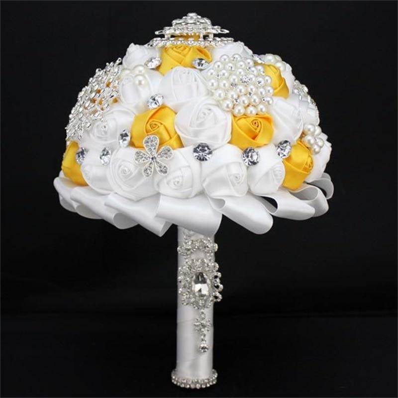 1pc / lot bílé a žluté svatební Nevěsta Holding Květina pro svatební kytice dekorace