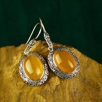925 silver inlaid natural ear carving