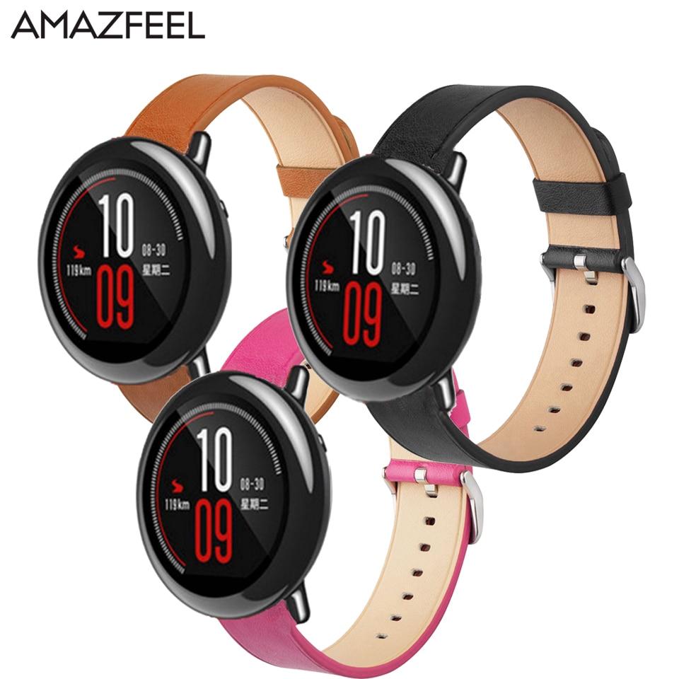 AMAZFEEL 22mm Véritable En Cuir Amazfit Sangle pour Xiaomi Huami Amazfit Rythme 2 Bracelet En Cuir Huami Stratos 2 Montre 2 Bracelet