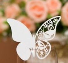 120pcs/lot Laser Cut Place Card Butterfly number holder Wedding party Decoration Wine Glass wd111