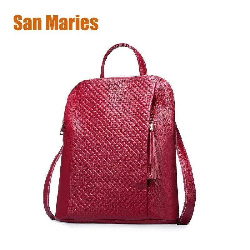 San Maries Women Multifunctional Backpacks Luxury Designer Woman Genuine Leather Backpack Dual Use Multifunction Backpack Female гель declare purifying cleansing gel объем 200 мл