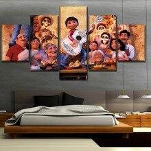 Home Decor Wall Art Kids Room Canvas Print 5 Piece Coco Pixar Animation Movie Painting Modern Modular Picture Framework