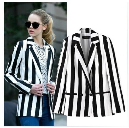 Collection Black And White Striped Blazer Womens Pictures - Reikian