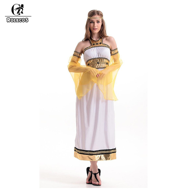 rolecos women halloween cosplay egyptian queen cosplay costume greek roman goddess costume brand retro dress for