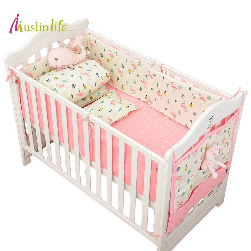 Muslinlife Infant Crib Bumper Bed Protector Baby Kids Cotton Nursery Bedding,Flamingo Bedding Set Available 1-5pcs/set