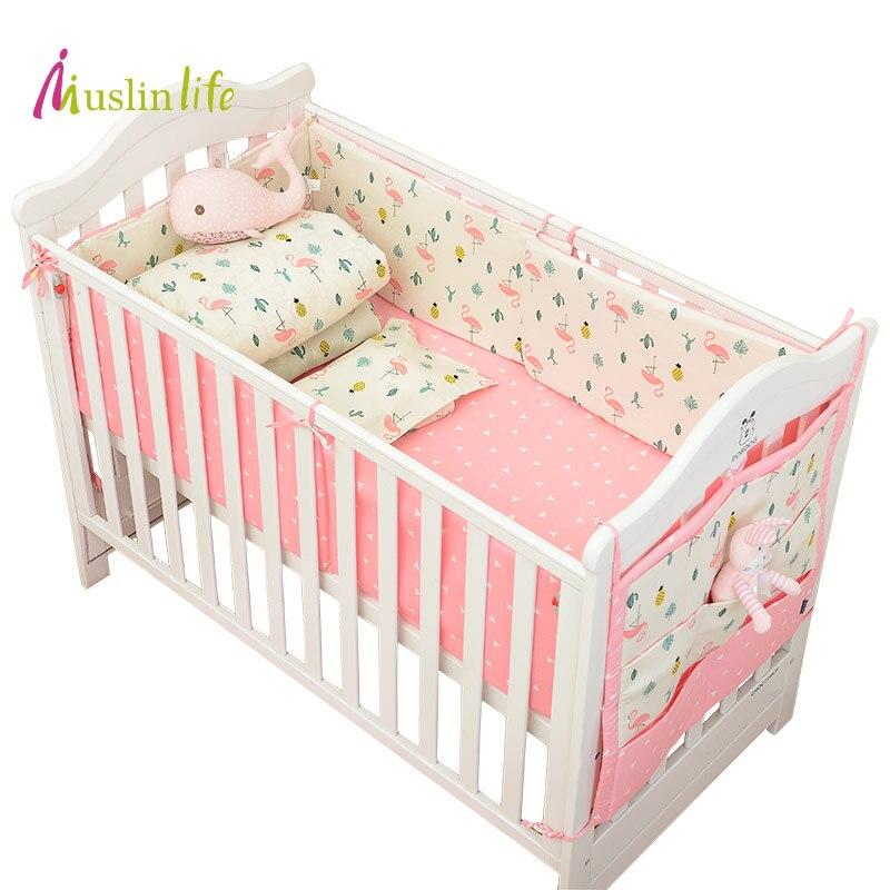 Muslinlife Infant Crib Bumper Bed Protector Baby Kids Cotton Nursery bedding,Flamingo Bedding Set available 1-5pcs/set