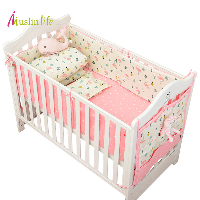 Muslinlife Infant Crib Per Bed Protector Baby Kids Cotton Nursery Bedding Flamingo Set Available