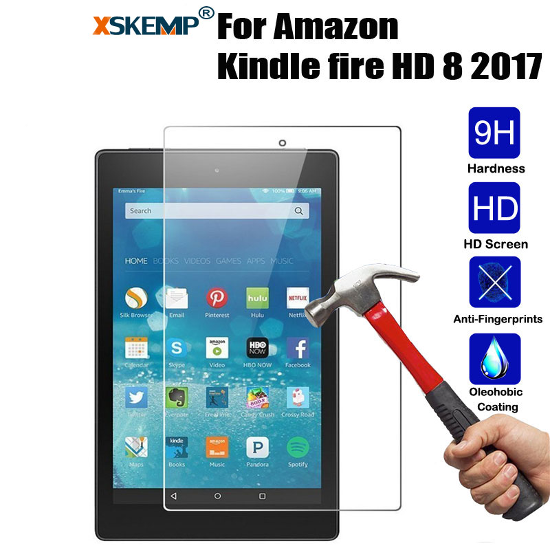 XSKEMP 9H Hardness Real Tempered Glass For Amazon Kindle fire HD 8 2017 8.0 Ultra Clear 0.3mm Tablet Screen Protector Guard Film xskemp 9h hardness real tempered glass for samsung galaxy tab s2 8 0 t710 t715 0 3mm lcd tablet screen protector protective film