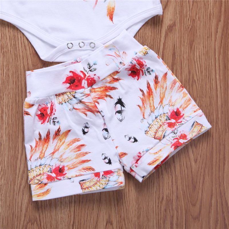 b30c77ce200b7 Summer Baby Feather Print Clothing Newborn Infant Kid Boy Girl Gypsy Tops  Romper+Shorts Pants 3pcs Hot Baby Boy Girl Clothes Set-in Clothing Sets  from ...