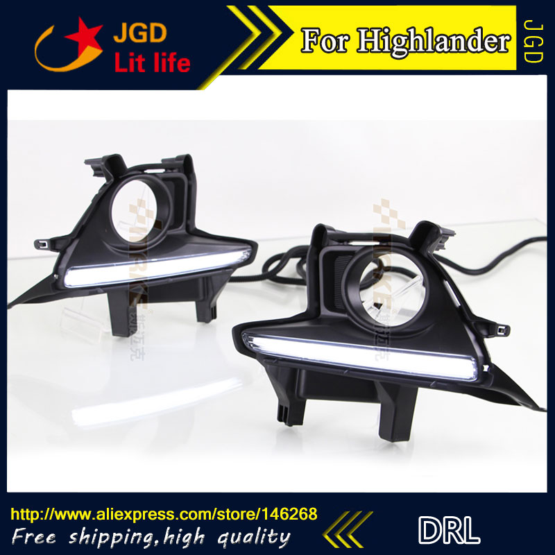 Free shipping ! 12V 6000k LED DRL Daytime running light for Toyota Highlander 2015 2016 fog lamp frame Fog light auto car led drl daytime running lights fog lamp white day light for toyota highlander 2015 2016 2017 free shipping
