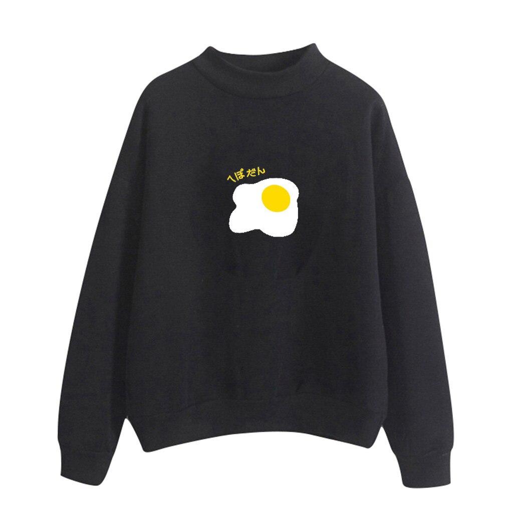 2020 Hoodies Womens New Fashion Autumn harajuku clothes Tops Retro Print Poached Egg Hooded sudadera mujer Loose rock moletom