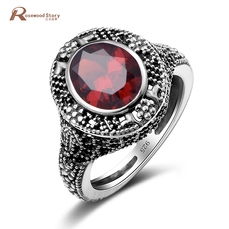 f1e41ad4fac49 US $20.58 29% OFF|Luxury Real 925 Sterling Silver Cocktail Rings for Women  Patterns Vintage Garnet Stone Ring Wedding Engagement Rose Fine Jewelry-in  ...