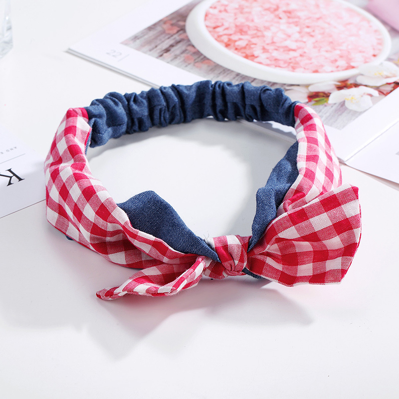 CHIMERA Ladys Plaid Headband Fashion Bunny Ear Hairband Elastic Bow Knotted Cowboy Cloth Headwrap Hair Accessories for Women