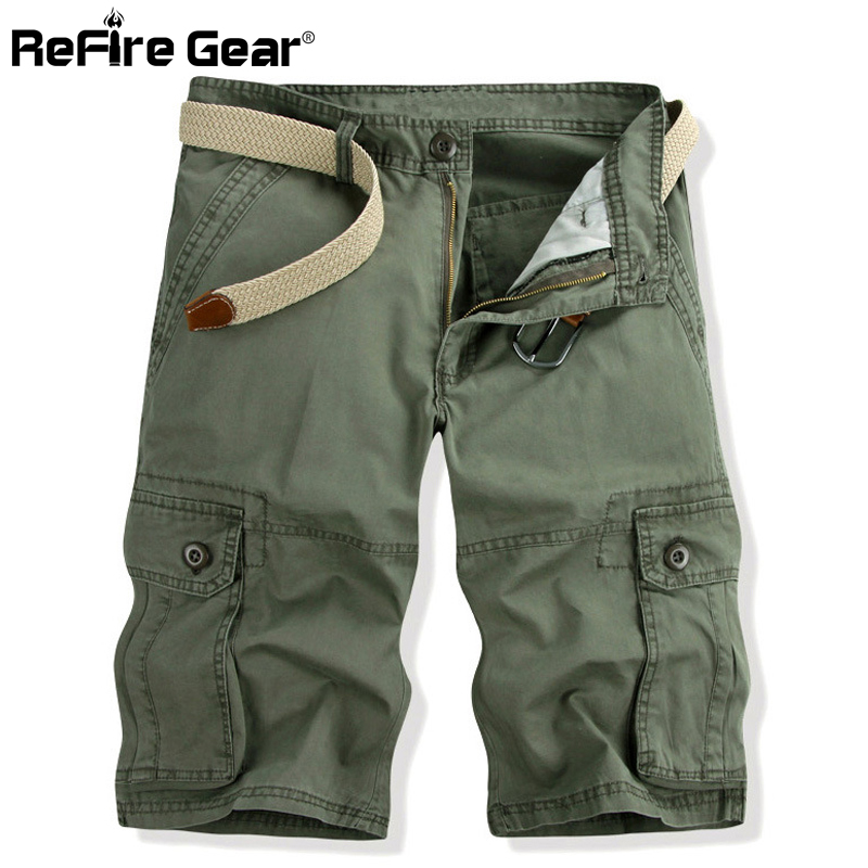 ReFire Gear Military Tactical Cargo Shorts Men Outdoor Hunting Casual Pants Male