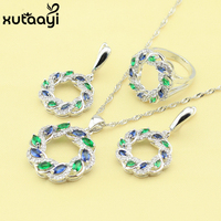 High Quality 925 Silver Women's   Fashion     Jewelry     Set   ,Green Stones White CZ Candy Ring Earrings Necklace Ring Pendant
