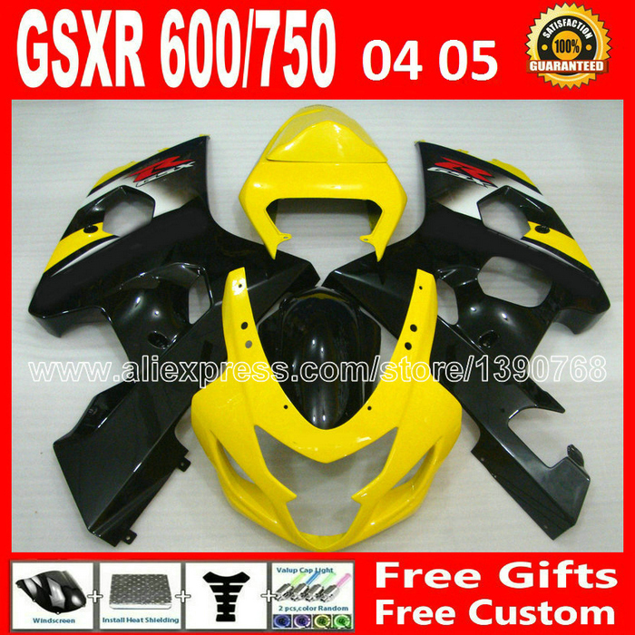 ABS plastic for 2004 2005 SUZUKI GSXR 600 750 fairing kit K4  popular yellow black gsxr600 EDT gsxr750 fairings kits 04 05 moto custom road fairing kits for suzuki glossy flat black 2006 gsxr 1000 k5 2005 gsx r1000 06 05 motorcycle fairings kit