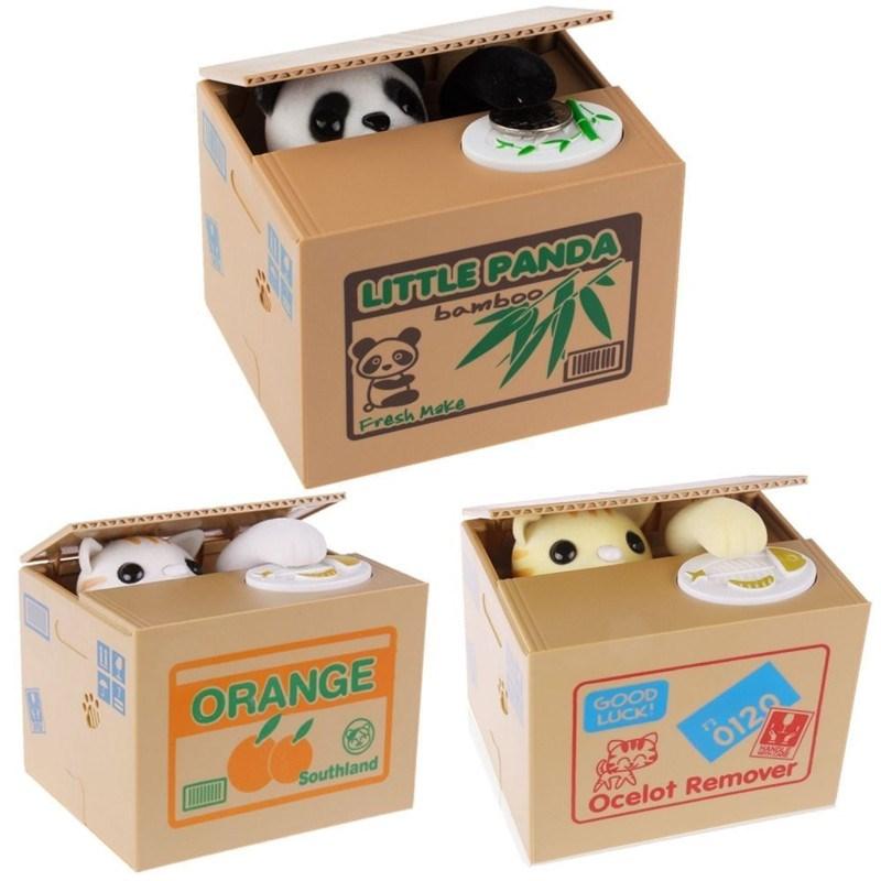 Brinquedo engraçado mágico caixas de dinheiro mealheiro bancos ladrão moneyboxes automático roubou moeda mealheiro caixa de poupança de dinheiro criativo crianças presentes