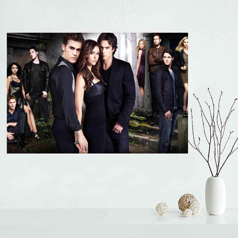 Hot Custom print the vampire diaries Poster Silk Fabric Cloth Poster for Home Decorative Custom Print your image