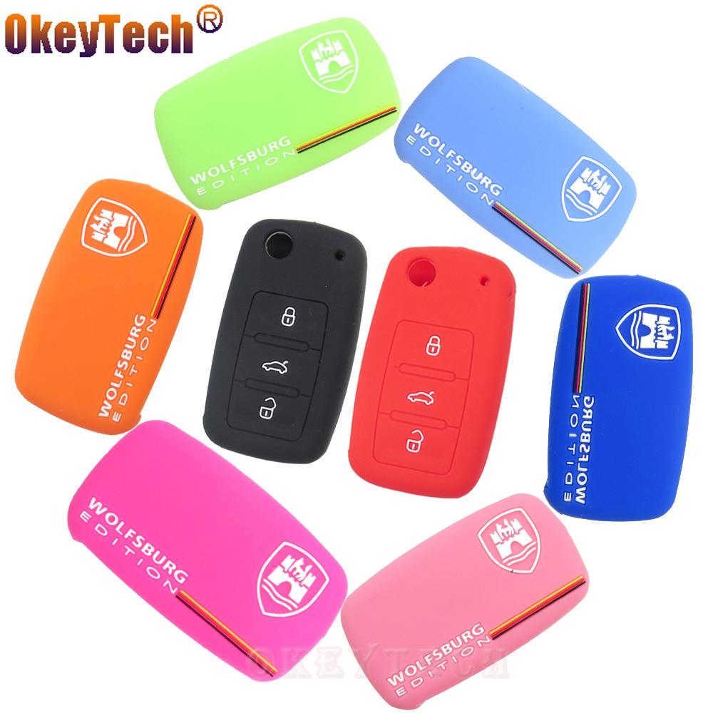 купить OkeyTech Silicone rubber car key fob case protected cover For VW Skoda Seat wolfsburg Emblem Tiguan Passat Golf MK5 MK6 Jetta по цене 95.88 рублей