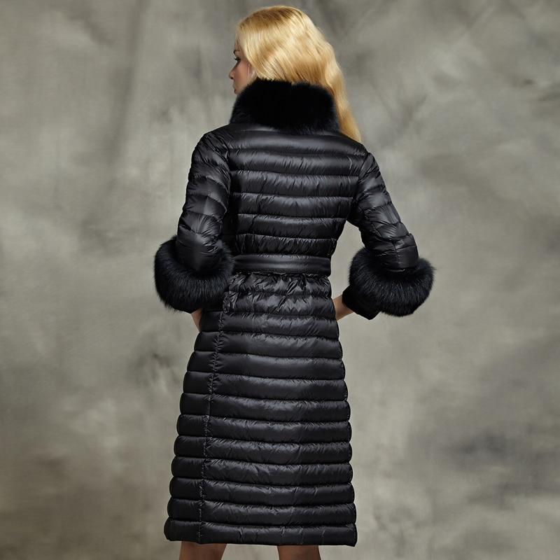 Fourrure Ynzzu Long Fox O701 D'hiver Nouvelles Élégante Femmes Vers Outwear Duvet D'oie De Veste Bas Col Luxe Chaud Blanc Le Manteau 2018 Avec Noir Réel PrwUPqR