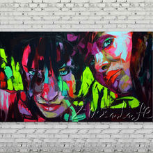 Palette knife portrait Face Oil painting Character figure canvas Hand painted Francoise Nielly wall Art picture 76