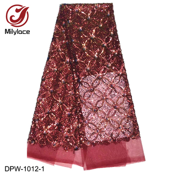 Sequins Embroidery African Lace Fabric 2019 Quality Nigerian French Tulle  Lace Fabric with Shiny Sequins for Party DPW-1012