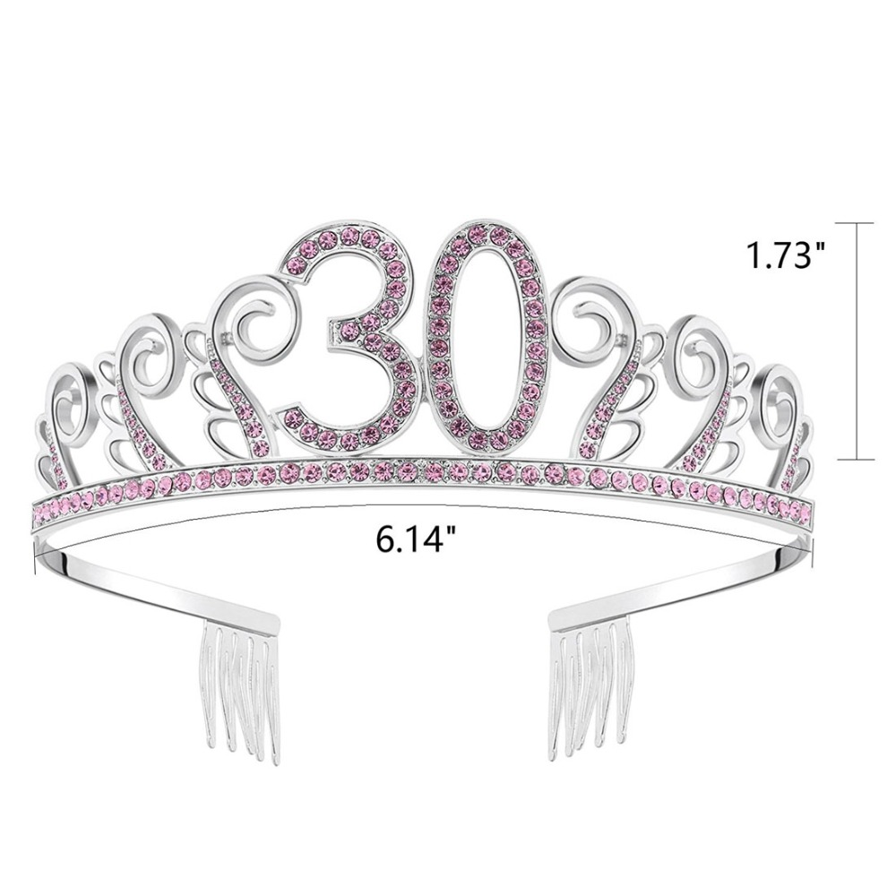 Crystal Queen 30 Birthday Crown Tiara For Women Year Old Gifts Happy 30th Party Decorations Ideas Supplies