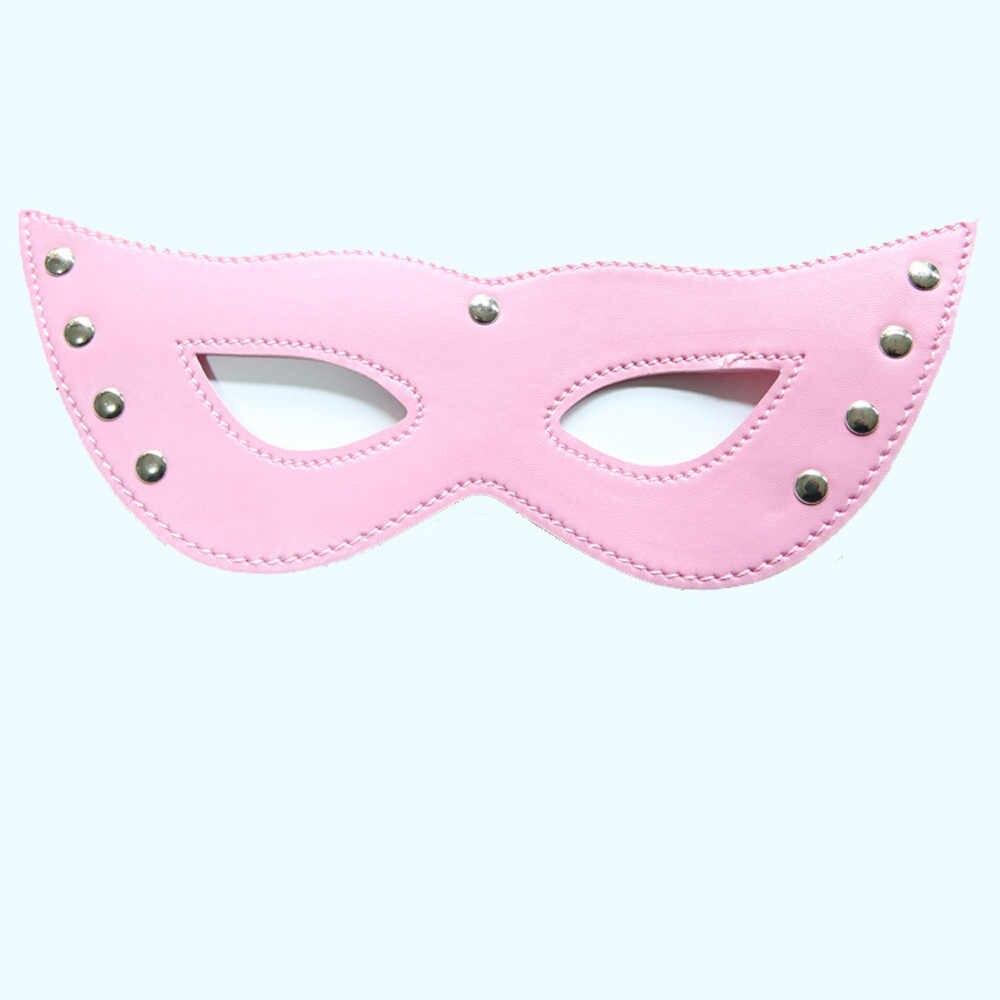 Erótico SM set de juguetes sexuales Porno fetiche máscara de ojos coqueteo Barra de plumas gafas de cuero Rosa adultos juego sexual tienda para mujeres D3