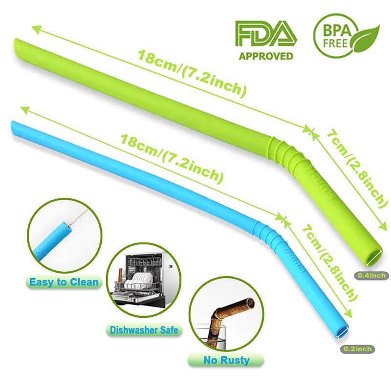 WALFOS 6 штук многоразовый силикон напиток соломинки пищевой обычный размер для питья