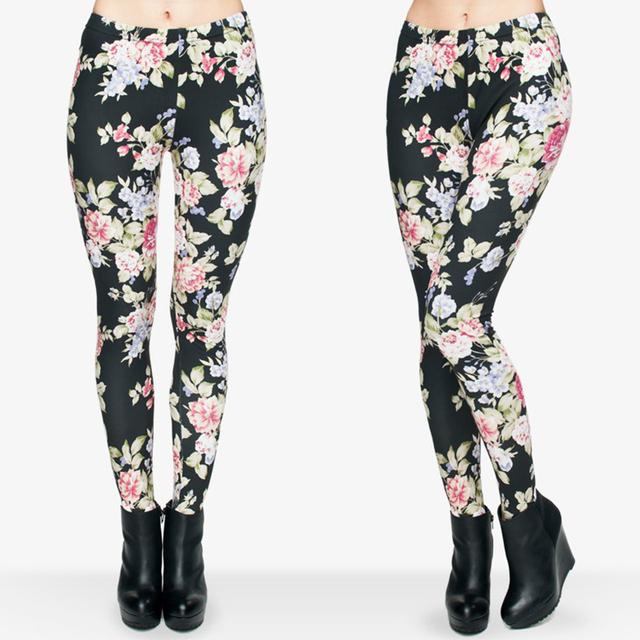 Women Classic Black Leggings Funny 3D Flower Roses Printing High Waist Milk Silk Leggin For Women Basic Casual Slim Pants