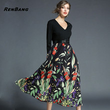 RENBANG Spring V-Neck Black Women Floral Print Vintage Party Dress Business Casual OL Elegant Vestidots Feminino