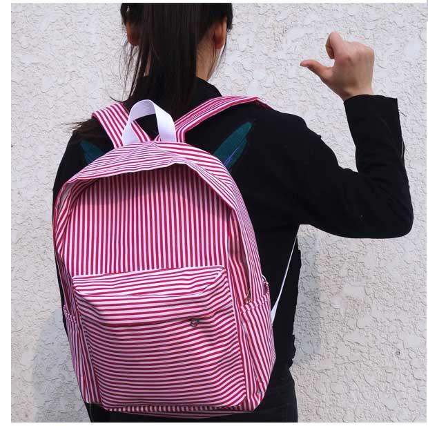 New Japanese Korean version Cute Harajuku red stripe Wild fashion Leisure Preppy style woman travel canvas