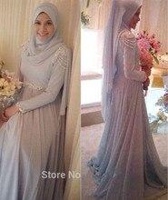 2016 Muslim Evening Dresses A line Long Sleeves Silver Chiffon Beaded Islamic Dubai Abaya Kaftan Long
