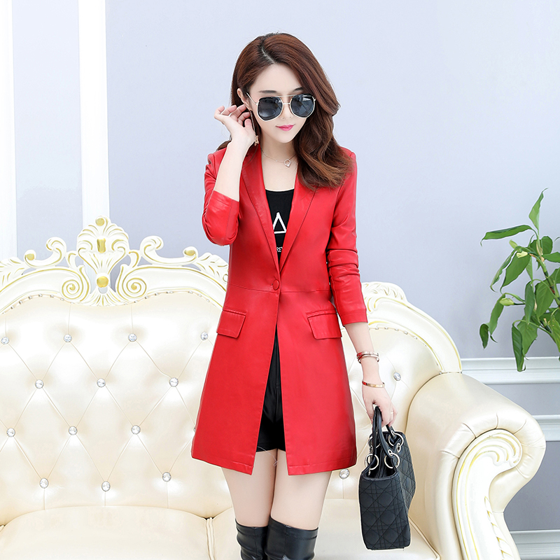 LISYRHJH New Autumn Winter Women   Leather   Jacket Mid-length Lady Faux   Leather   Coat Slim Fit Outerwears With Single Button