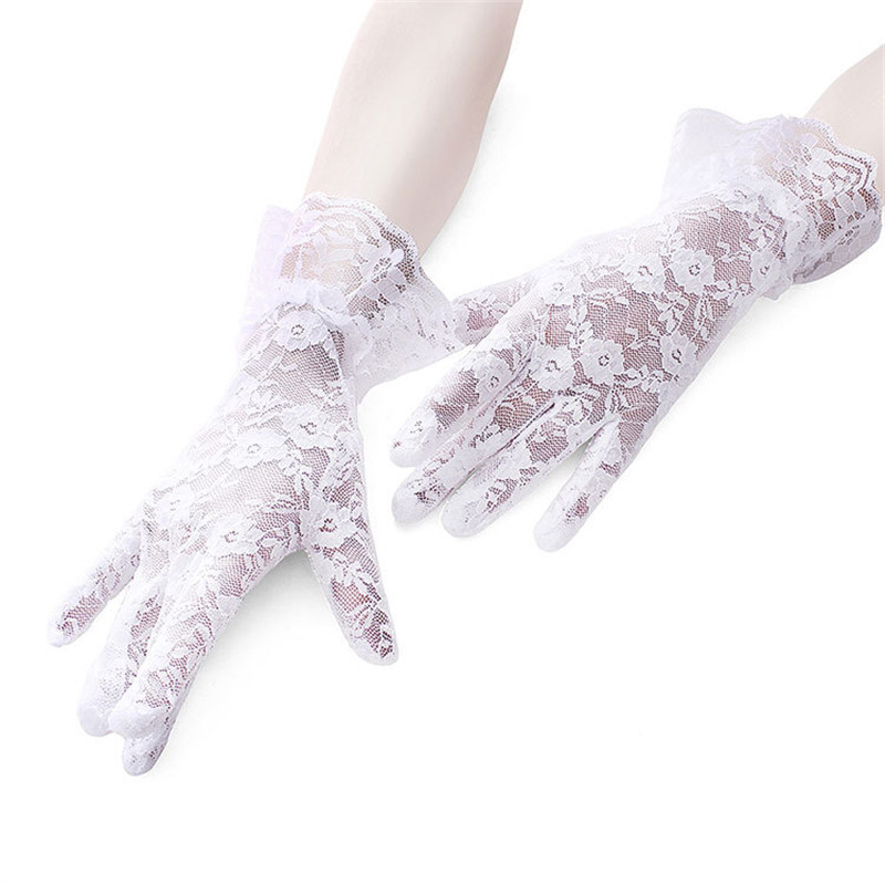 2017 Popular Lace Short Section Sunscreen Gloves Large Lace High-end Soft Driving Anti-UV Lady Breathable Glove For Women J306