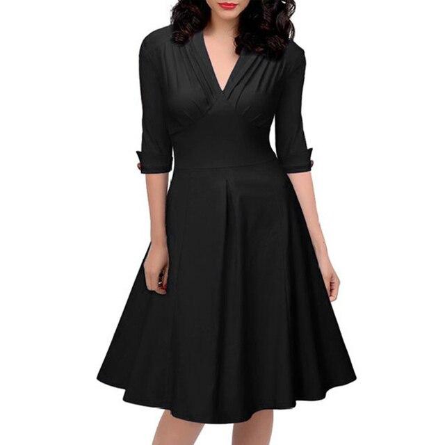 Frauen Sexy V ausschnitt Schlanke Taille Marilyn Monroe Kleid 1940 s ...
