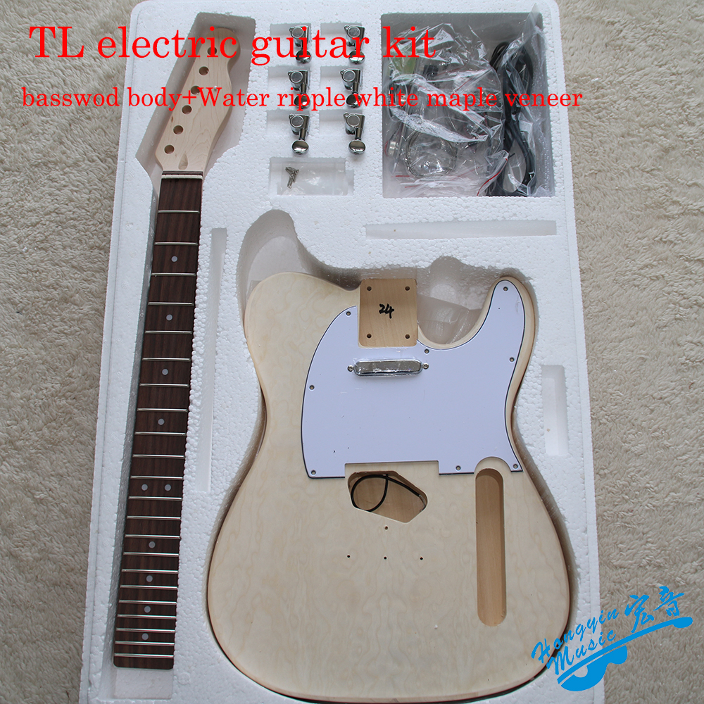 DIY TL Style Electric Guitar Kit Water Ripple Veneer Basswood Body Hard Maple Neck Rosewood Fingerboard Guitar Materials Set tiger pattern 3a grade maple veneer lp style electric guitar diy kit set african mahogany okoume body neck rosewood fingerboard