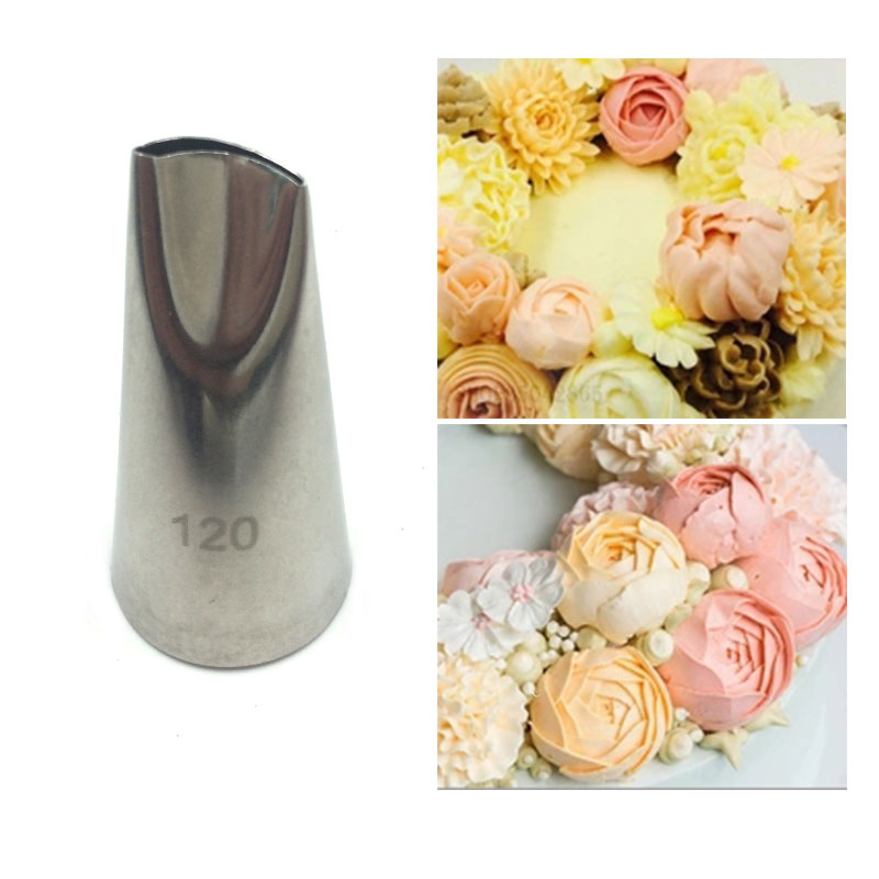 # 120 Rose Petal Metal Cream Tips Kage Dekorationsværktøjer Ståliscing Piping Dyser Set Cake Cream Udsmykning Cupcake Pastry Tool