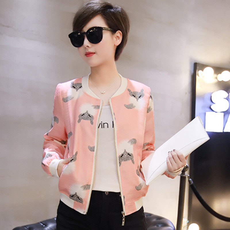 Neue Mode Damen Jacken Kurze Mantel Floral Baseball Uniform Bomber Jacke Frauen Outwear Student Casual Frauen Basic Mäntel C4476