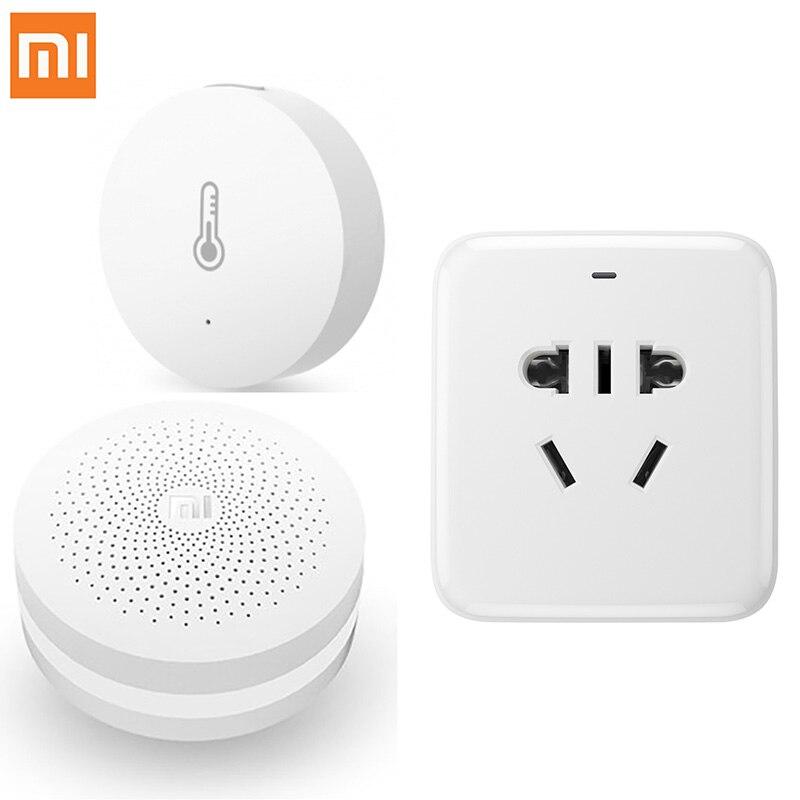 3 in1 d'origine xiaomi température humidité capteur/prise de courant intelligente wifi à distance/accueil multifonctionnel passerelle android ios app