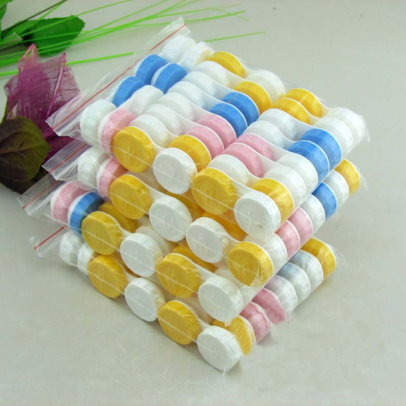 20pcs/lot Simple Contact Lens Case Box Eyewear Accessories Cute Travel Box Container For Lenses Random Color Wholesale