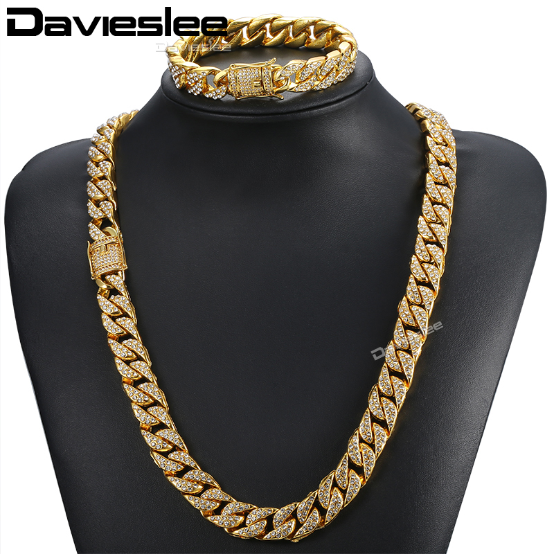 Davieslee Jewelry Set For Men Gold Miami Curb Cuban Link Chain Necklace Bracelet Sets Iced Out Hip Hop Men's Jewelry 14mm DGS262 8mm 10mm 12mm 14mm stainless steel miami curb cuban bracelet mens hip hop thick gold filled cuban link heavy bracelet 23cm