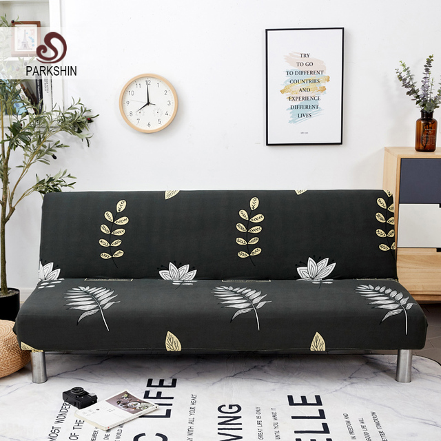 Parkshin Nordic Leaf All inclusive Folding Sofa Bed Cover Tight Wrap Sofa Couch Cover Without Armrest housse de canap cubre Sofa