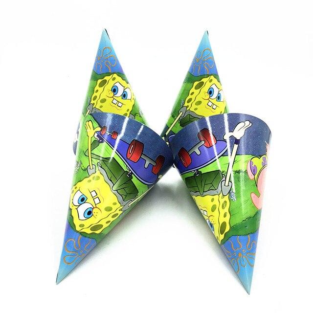 aa5f2ea9f58 12PCS LOT SPONGEBOB PAPER HATS KIDS BIRTHDAY PARTY SUPPLIES SPONGEBOB PARTY  CAPS BIRTHDAY PARTY FAVORS