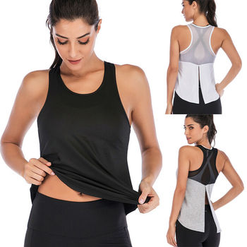 Women Fitness Sports Shirt Sleeveless Yoga Top Running GymShirt Vest Athletic Undershirt Yoga Gym Wear Tank Top Quick Dry 2