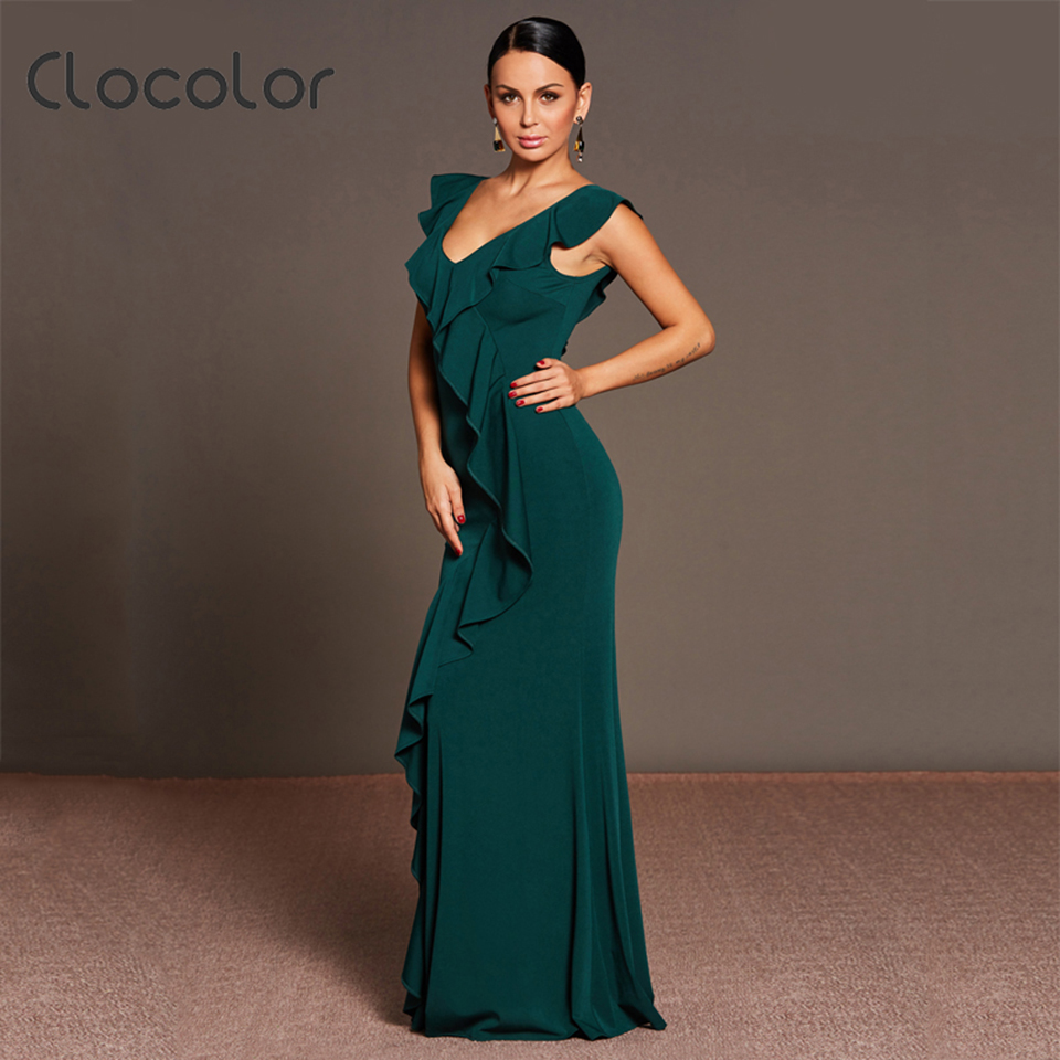 Clocolor Women Green Dress V Neck Summer Female Ankle Length Elegant Ruffled Collar Backless Butterfly Sleeve Sexy Club Dresses